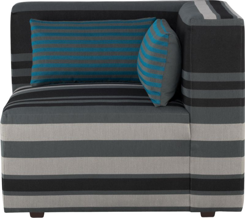 Our Savino modular sectional brings home the Italian fashion runway's hottest trend—stripes. Mix and match components to your space with graphic chromatic bands and color block solids in deep aqua and charcoal. Lofty box cushions and low-profile tight backs expertly tailored with precision matching and topstitching block together in handsome geometrics fashioned with luxurious comfort in mind. Must-have accessory: fun rectangular low-back throw pillow that reverses from narrow aqua stripes to solid charcoal.<br /><br />After you place your order, we will send a fabric swatch via next day air for your final approval. We will contact you to verify both your receipt and approval of the fabric swatch before finalizing your order.<br /><br /><NEWTAG/><ul><li>Eco-friendly construction</li><li>Certified sustainable, kiln-dried hardwood frame</li><li>Sinuous wire spring suspension with 60-90% recycled material</li><li>Tight seat and back cushions are soy-based polyfoam with fiber</li><li>Recessed plastic legs</li><li>Upholstery is 67% polyester and 33% cotton with topstitch detailing</li><li>Benchmade</li><li>See additional frame options below</li><li>Made in Virginia, USA</li></ul>