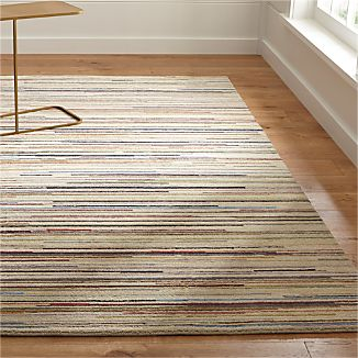 Savoy Cream Striped Hand Knotted Wool Rug