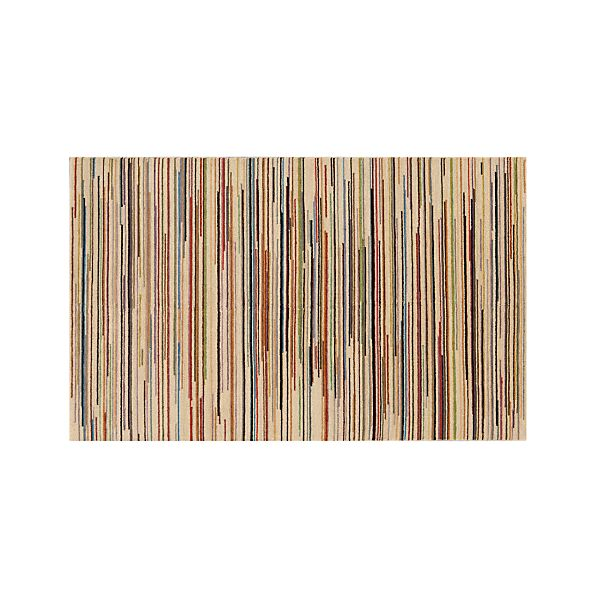 Savoy Cream Striped Hand Knotted Wool 5'x8' Rug