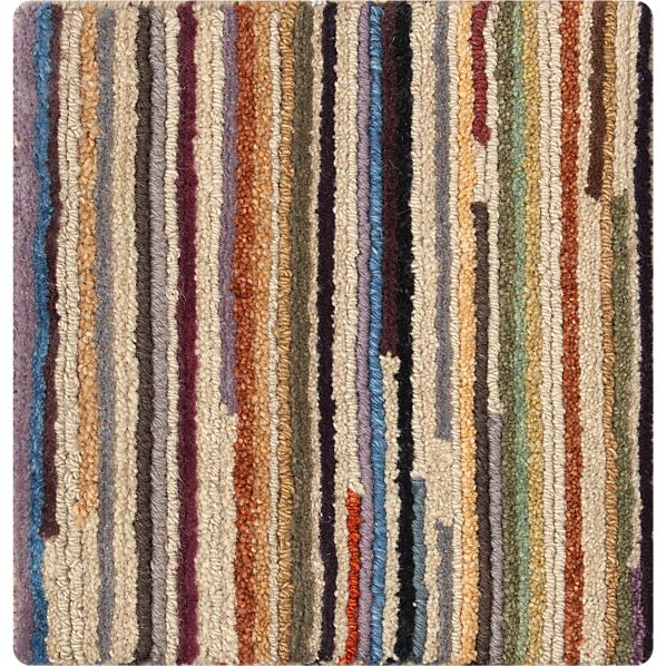 "Savoy Cream Striped Hand Knotted Wool 12"" sq. Rug Swatch"