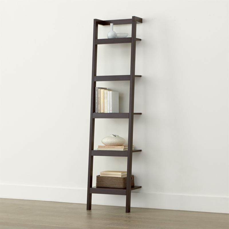 Sawyer Mocha Leaning 18 Quot Bookcase Crate And Barrel