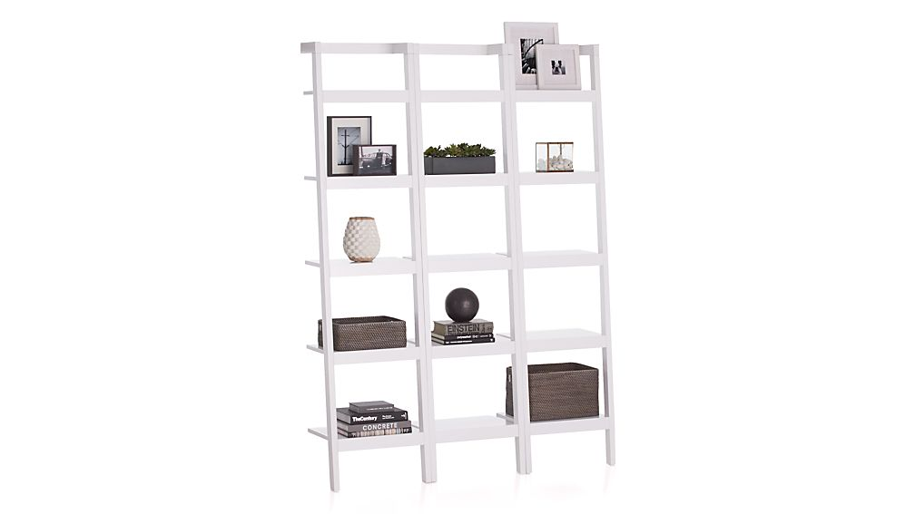 "Sawyer White Leaning 18"" Bookcases Set of Three"