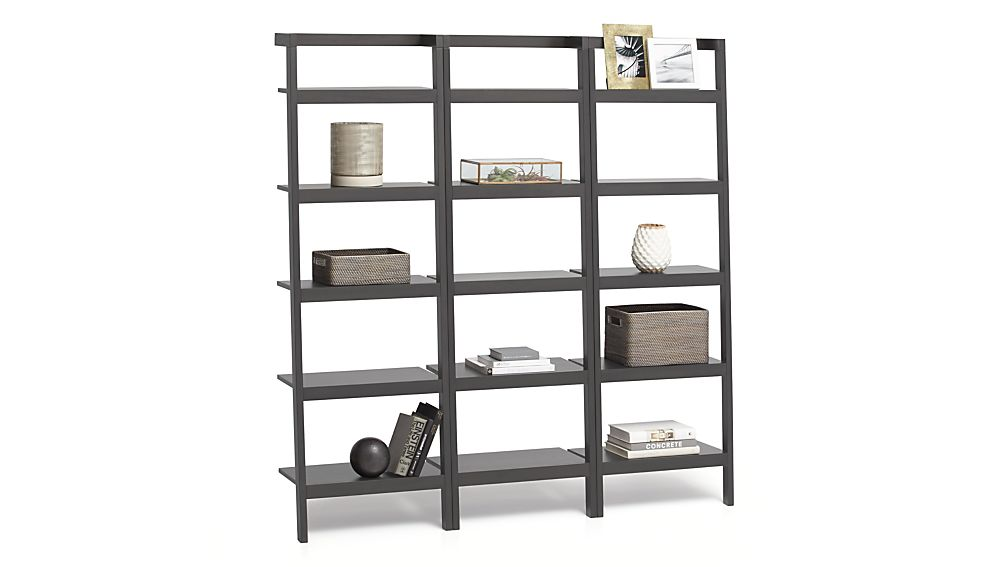"""Sawyer Grey Leaning 24.5"""" Bookcases Set of Three"""