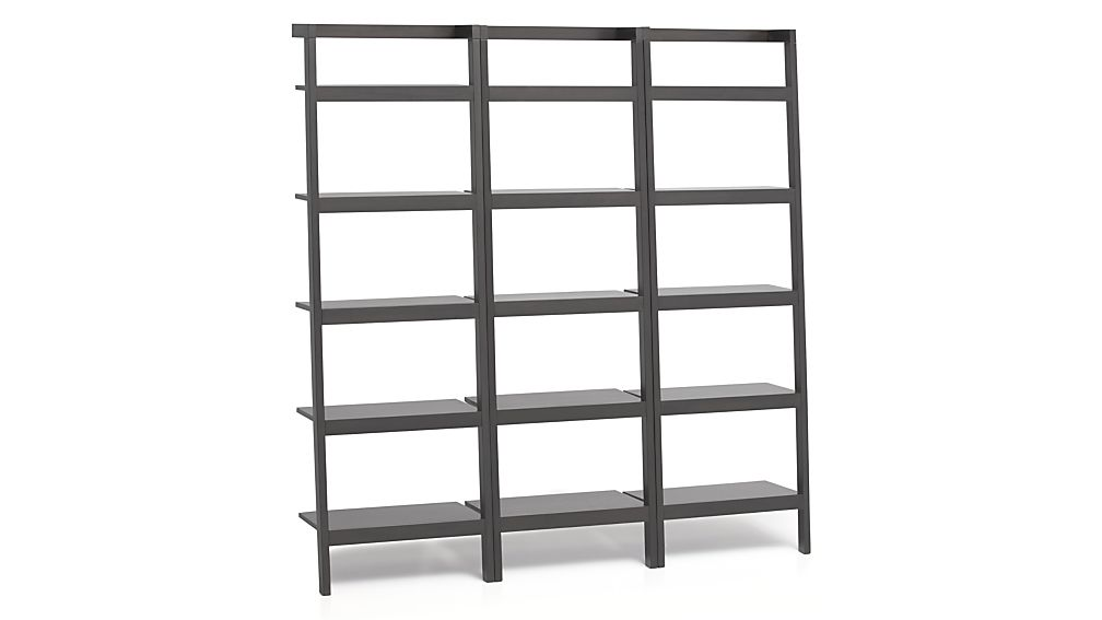 "Sawyer Grey Leaning 24.5"" Bookcases Set of Three"
