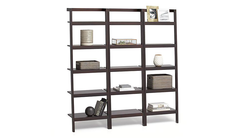"Sawyer Mocha Leaning 24.5"" Bookcases Set of Three"