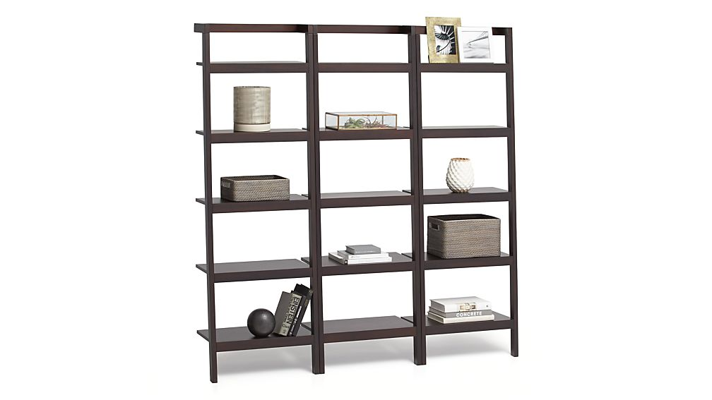 "Sawyer Mocha Leaning 24.5"" Bookcases Set of Three"
