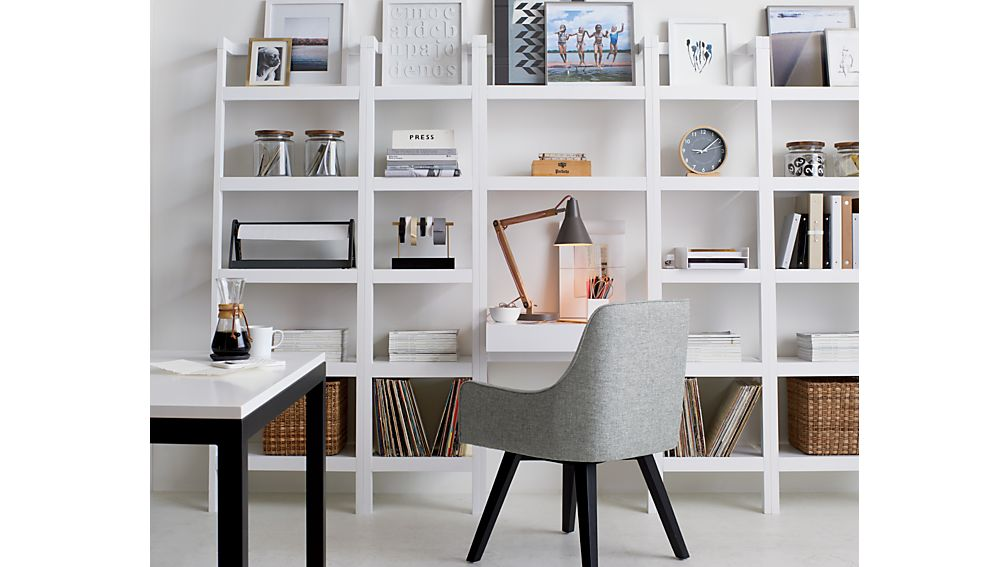 """Sawyer White Leaning Desk with Two 18"""" Bookcases"""