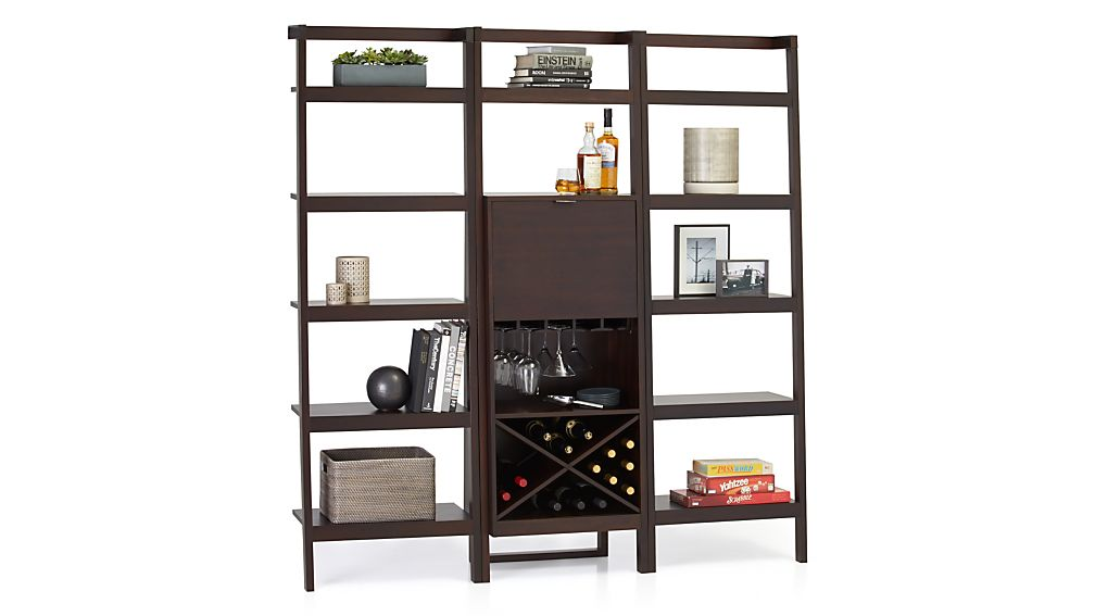 Sawyer Mocha Leaning Wine Bar With Two 24 5 Bookcases