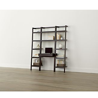 "Sawyer Mocha Leaning Desk with Two 18"" Bookcases"