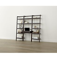 "Sawyer Mocha Leaning Desk with Two 24.5"" Bookcases"