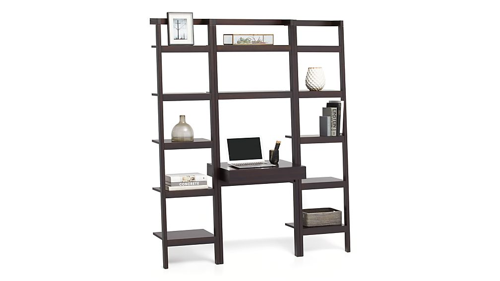 """Sawyer Mocha Leaning Desk with Two 18"""" Bookcases"""