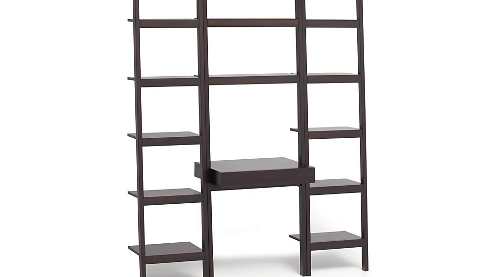 Sawyer Mocha Leaning Desk With Two 18 Quot Bookcases Crate