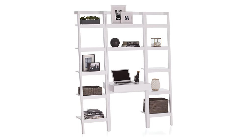 Sawyer White Leaning Desk With Two 18 Quot Bookcases Crate
