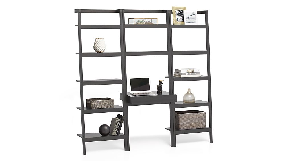 """Sawyer Grey Leaning Desk with Two 24.5"""" Bookcases"""