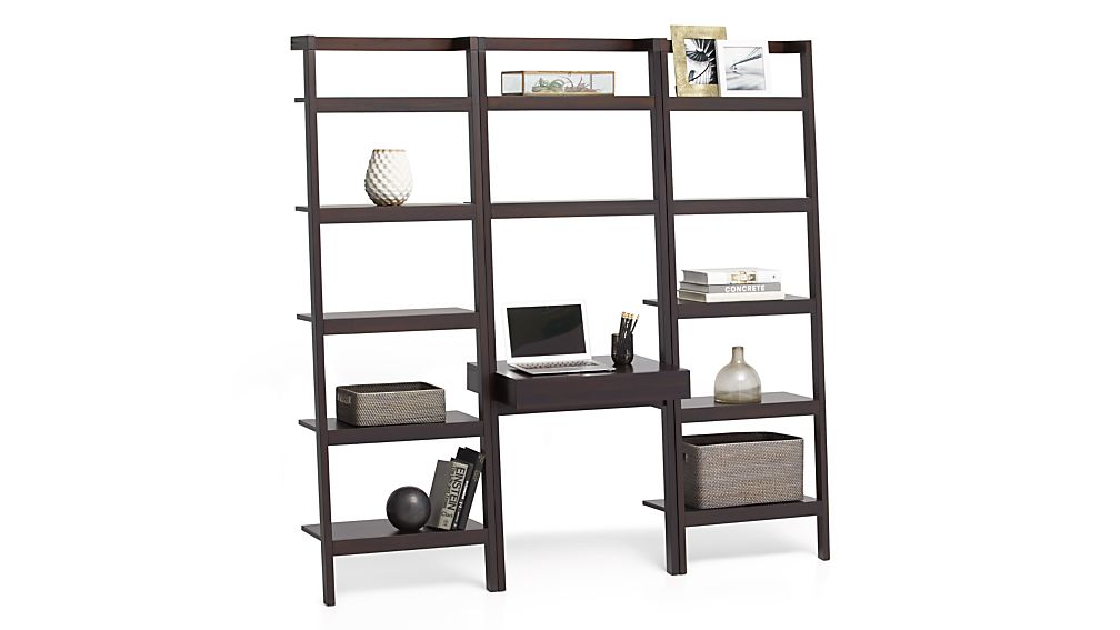 """Sawyer Mocha Leaning Desk with Two 24.5"""" Bookcases"""