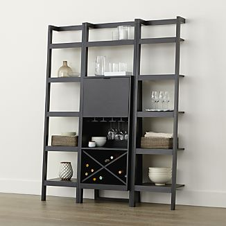 Sawyer Grey Leaning Wine Bar with Two 18'' Bookcases