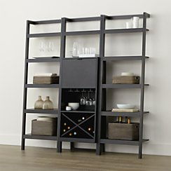 Sawyer Grey Leaning Wine Bar with Two 24.5'' Bookcases