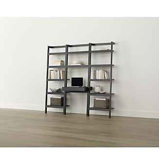 "Sawyer Grey Leaning Desk with Two 24.5"" Bookcases"