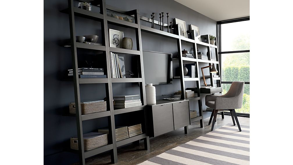 """Sawyer Grey Leaning 18"""" Bookcases Set of Three"""