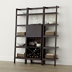 Sawyer Mocha Leaning Wine Bar with Two 18'' Bookcases