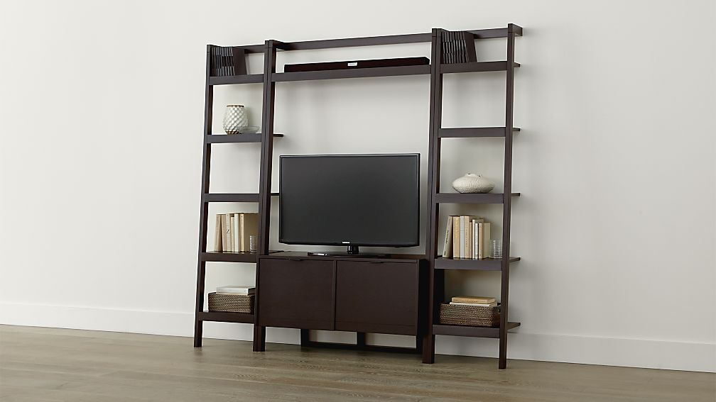 Sawyer Mocha Leaning Media Stand With Two 18 Bookcases