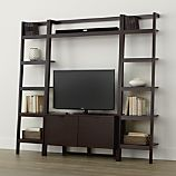 Sawyer Mocha Leaning Media Stand with Two 18'' Bookcases