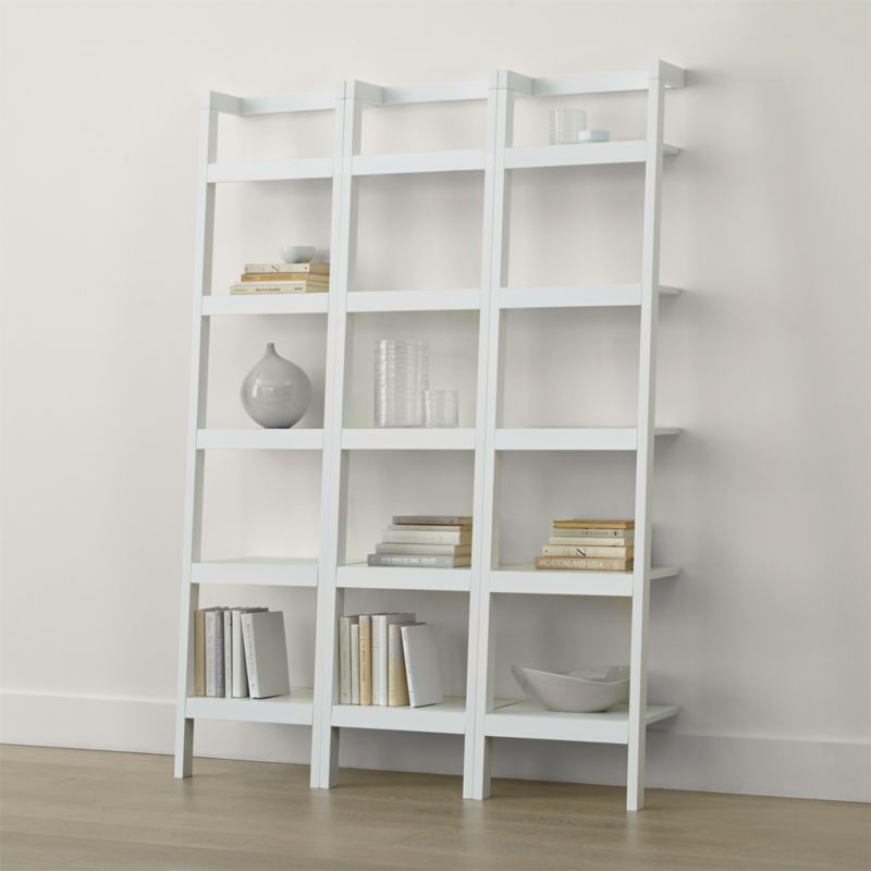 Sawyer White Leaning 18 Quot Bookcases Set Of Three Crate