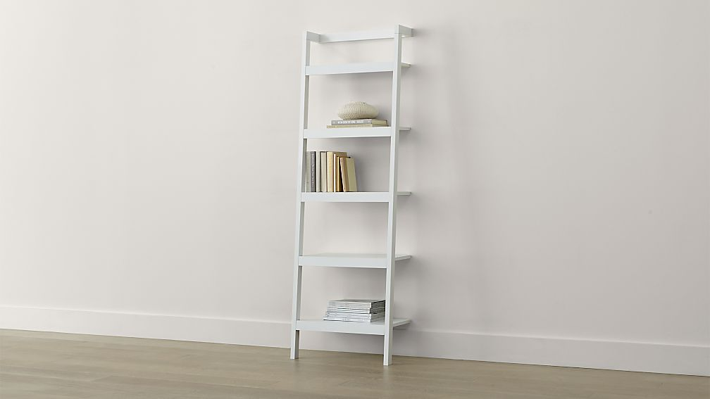 Sawyer white leaning 24 5 bookcase crate and barrel How deep should a bookshelf be