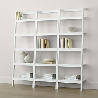 "Sawyer White Leaning 24.5"" Bookcases Set of Three"