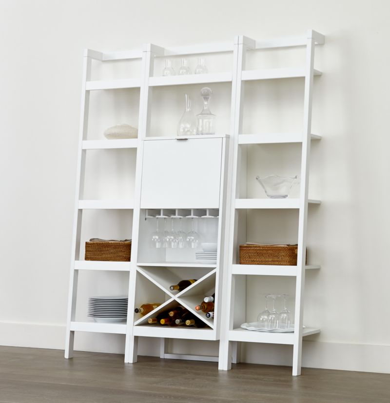 "Sawyer White Leaning Wine Bar with Two 18"" Bookcases"