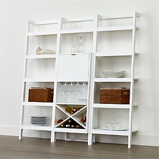 "Sawyer White Leaning Wine Bar with Two 24.5"" Bookcases"