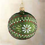 Scandi Flower Ball Green Ornament