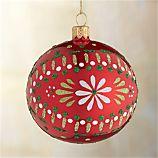 Scandi Flower Ball Red Ornament