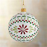 Scandi Flower Ball White Ornament