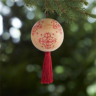 Scandi Snowflake Tassel Ball Ornament