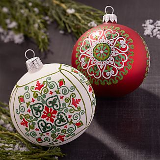 Scandi Snowflake Ball Ornaments