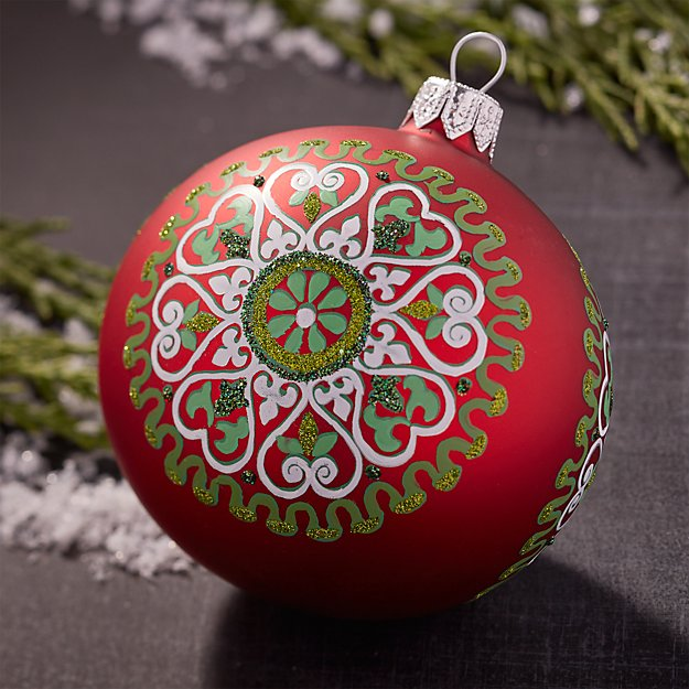 Scandi Snowflake Red Ball Ornament
