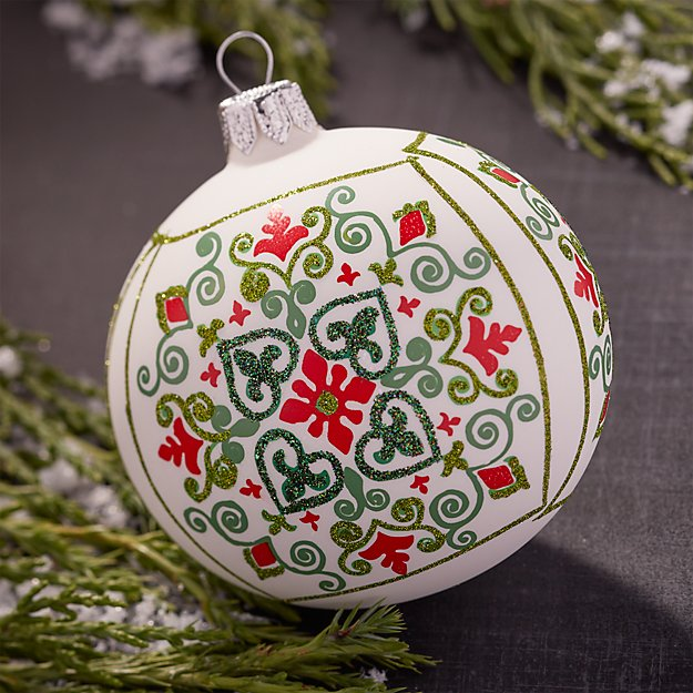 Scandi Snowflake White Ball Ornament