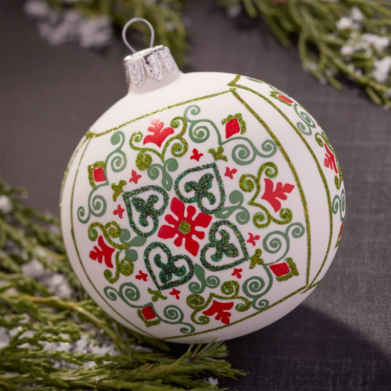 Scandi Snowflake White Ball Ornament