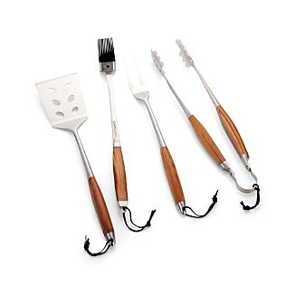 Schmidt Brothers ® 4-Piece Bonded Teak Barbecue Tool Set