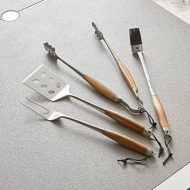 Schmidt Brothers ® 4-Piece Bonded Teak Barbecue Tool Set