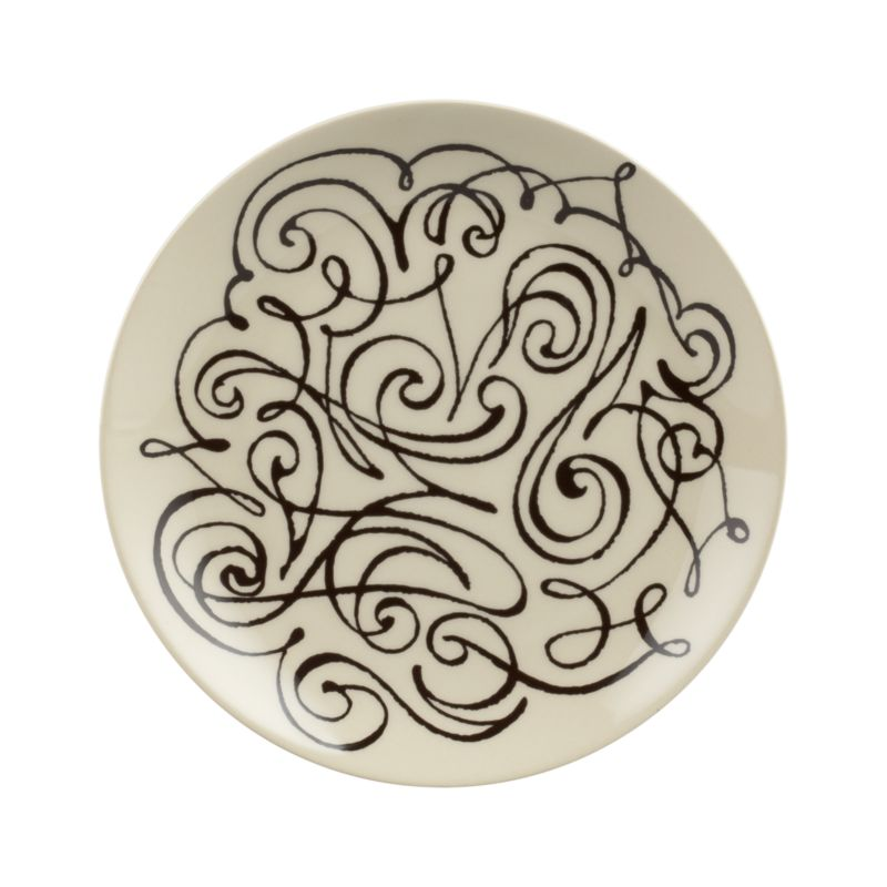 Lyrical, freehand calligraphy embellishes artisan-made stoneware with a flourish in a lilting dark-on-light design by noted artist Elvis Swift. Styled for special occasions, made durable for everyday use.<br /><br /><NEWTAG/><ul><li>Design by Elvis Swift</li><li>Handcrafted</li><li>Stoneware</li><li>Dishwasher- and microwave-safe</li><li>Made in Portugal</li></ul>