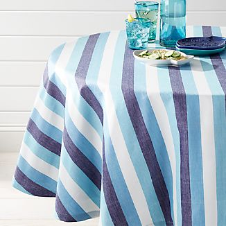 """Seaside Blue Striped 60"""" Round Tablecloth"""