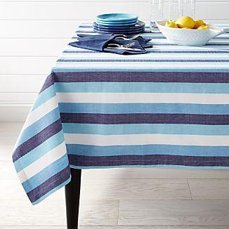 "Seaside Blue Striped 60""x120"" Tablecloth"