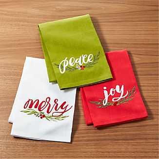 Season's Greetings Dish Towels Set of Three