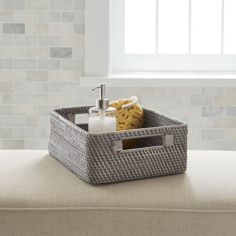 Sedona grey low open tote crate and barrel for What to put in bathroom baskets