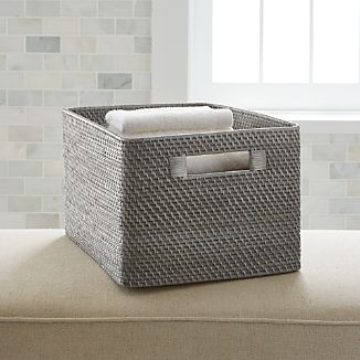 Bathroom baskets crate and barrel for What to put in bathroom baskets