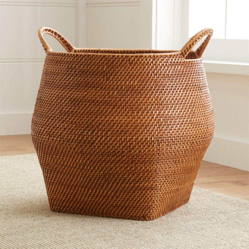 Sedona Honey Round Rattan Storage Basket