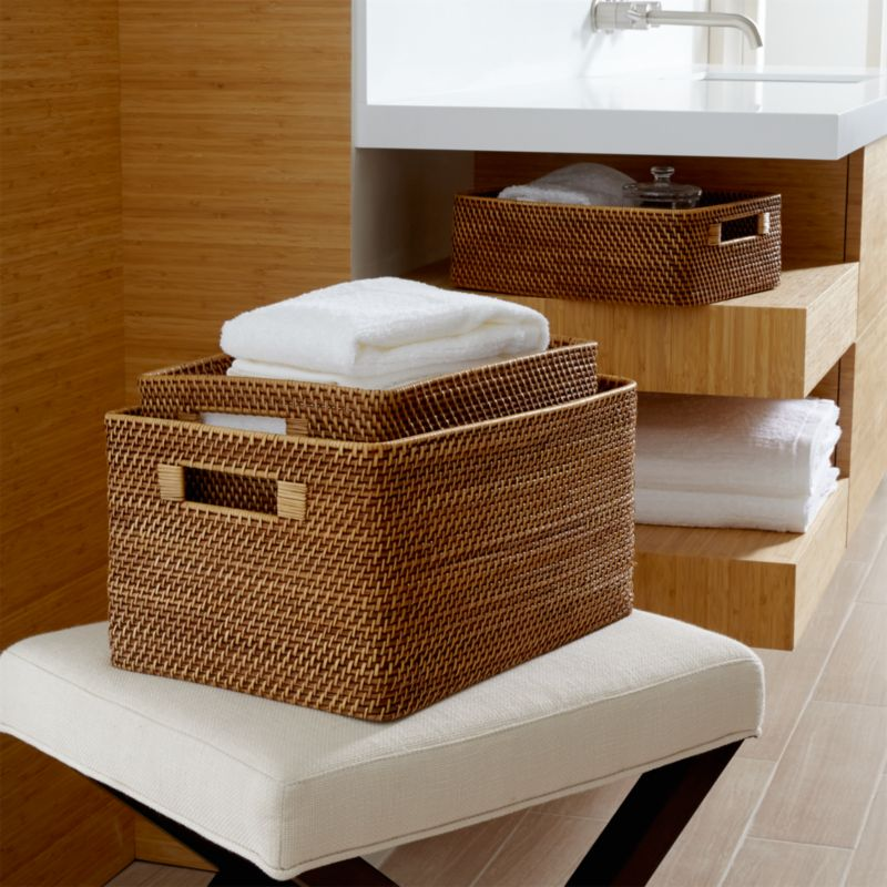 Sedona honey totes crate and barrel for What to put in bathroom baskets
