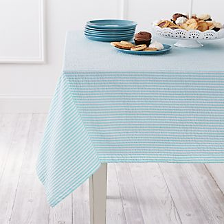 "Seersucker Aqua 60""x90"" Tablecloth"